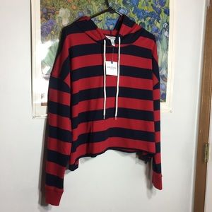 Red and navy striped crop hoodie